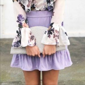 J. Crew Lilac Velvet Peplum Skirt Size Large